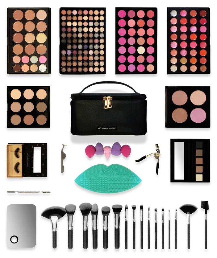 QC Makeup Academy - Elite Makeup Kit Flay Layout
