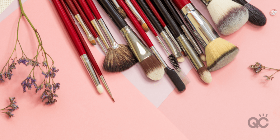 set of clean makeup brushes