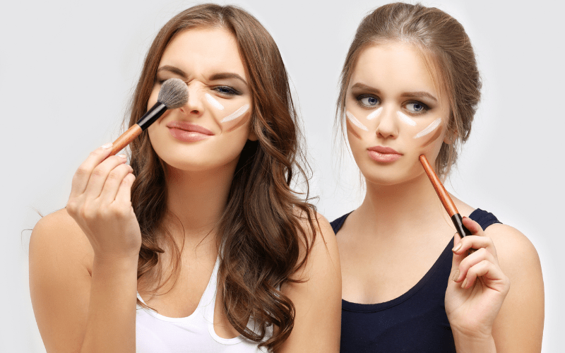 two girls playing with contour
