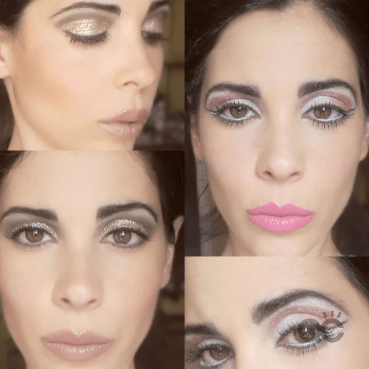 Collage of Makeup Looks by QC Makeup Academy Graduate Nadia Calabro