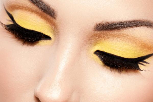 makeup career - yellow and orange eyeshadow with cat eye liner