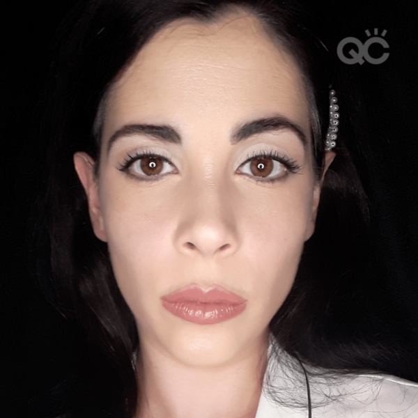 qc ambassador nadia calabro showing natural bridal makeup on face