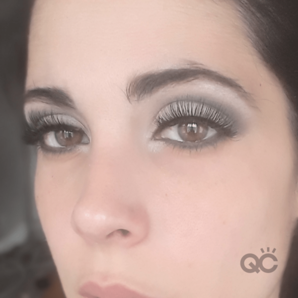 qc nadia calabro - demonstrating smoky eye makeup look