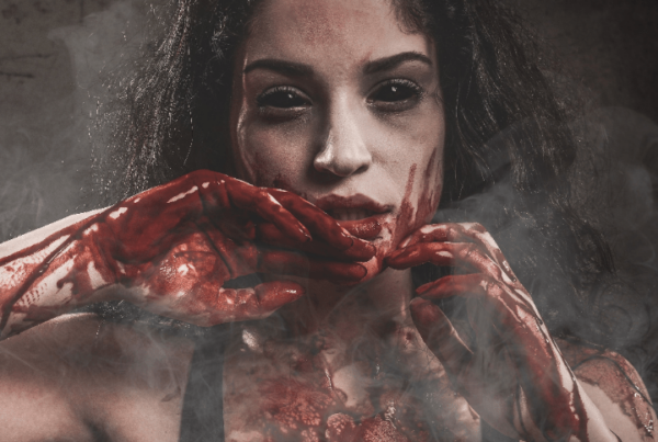 makeup jobs - haunted house makeup - demon girl covered in blood