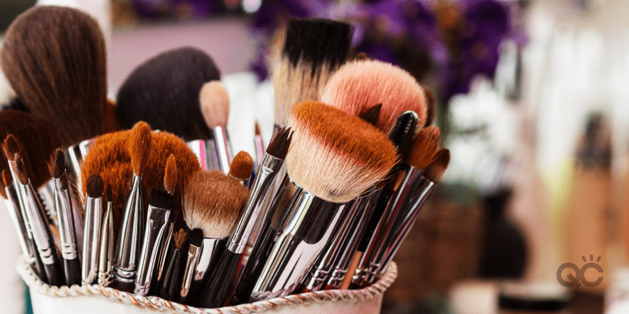 up-close shot of makeup brushes