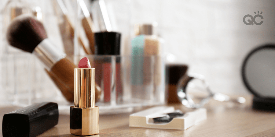 makeup artist products on table