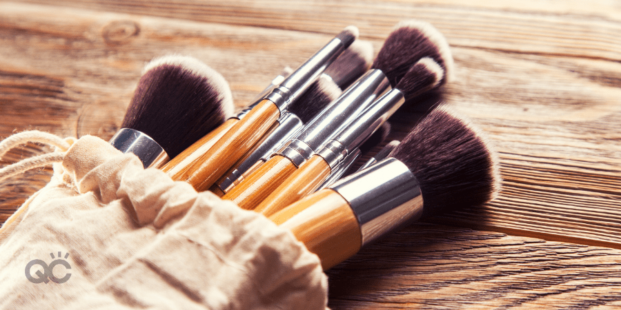makeup artist brushes on table