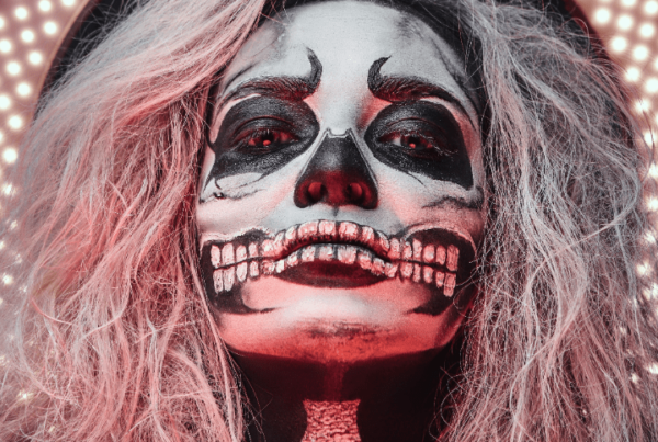 special fx makeup woman with skeleton face