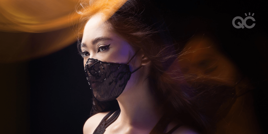 model wearing face mask for makeup portfolio