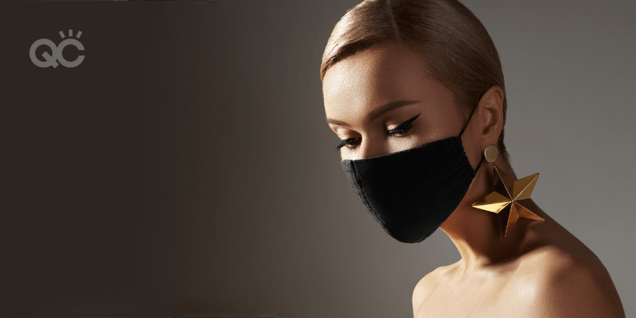 woman wearing face mask and makeup