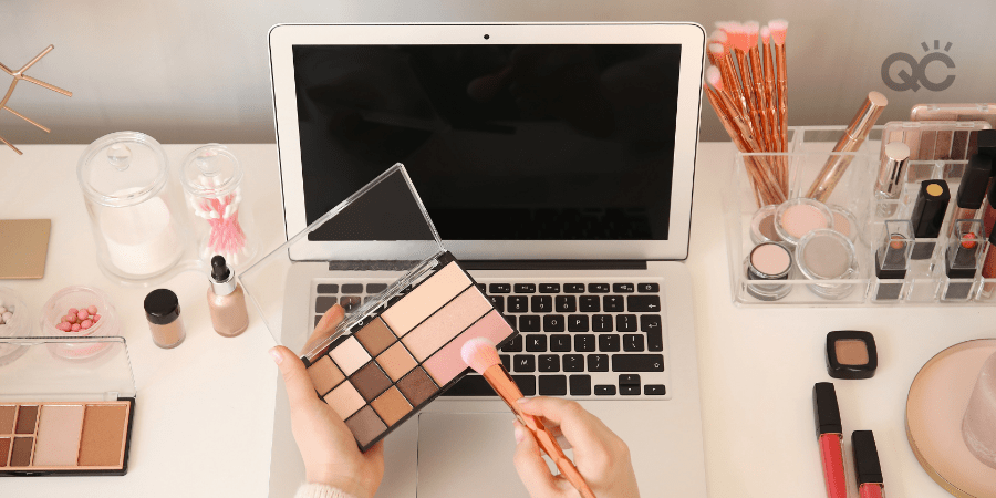 Desk with Computer and Makeup Tools