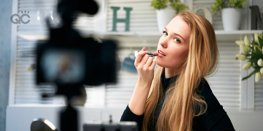 makeup vlogger applying makeup on camera