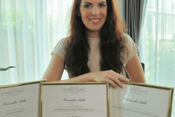 Makeup artist, Veronika Kelle, with her QC Makeup Academy certifications