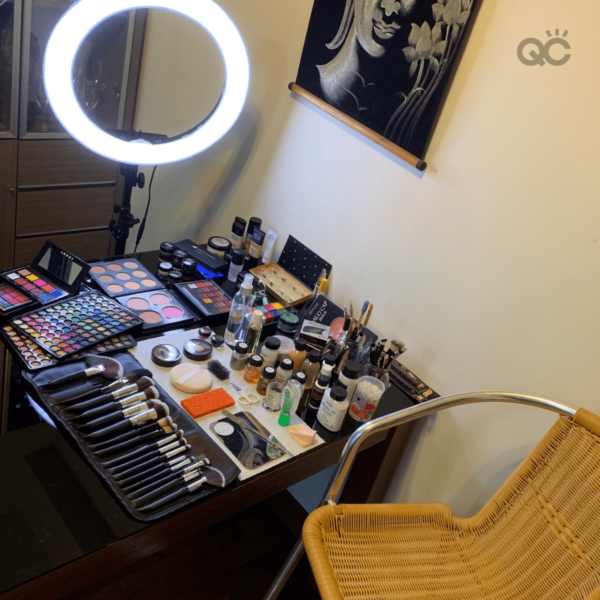 Veronika's makeup station set up for client appointment