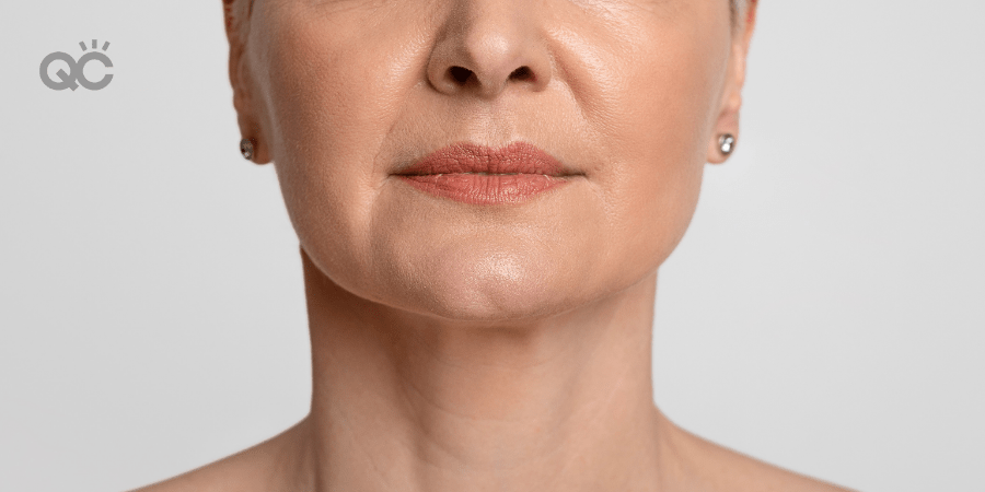 mature model, close up shot of lip makeup