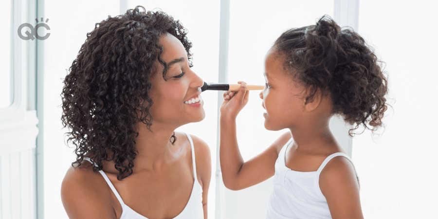 Becoming a makeup artist special needs parent article, Apr 27 2021, in-post image, daughter applying makeup on mom's cheek