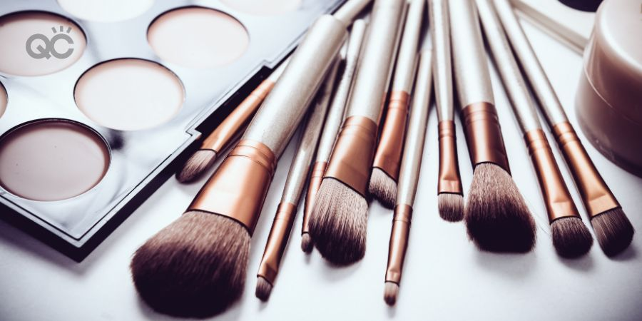 Makeup products on flat surface