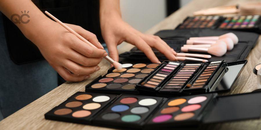 Makeup artist with makeup kit