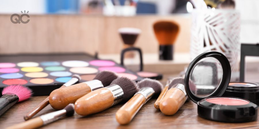 Products from makeup kit lying on table