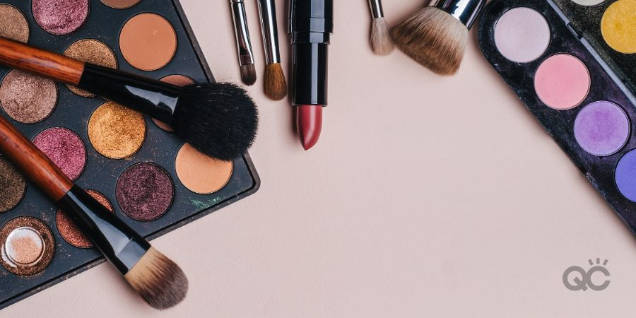 Set of professional cosmetics, makeup tools and accessories for women's beauty. Flat lay frame composition, top view.