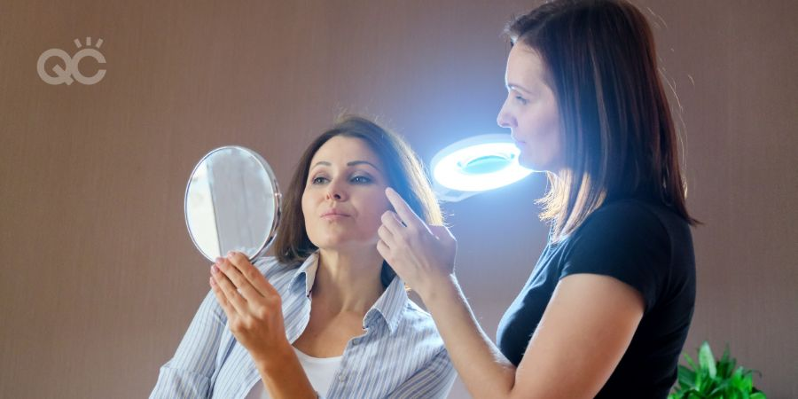 Becoming a skincare consultant, skincare expert having consultation with client