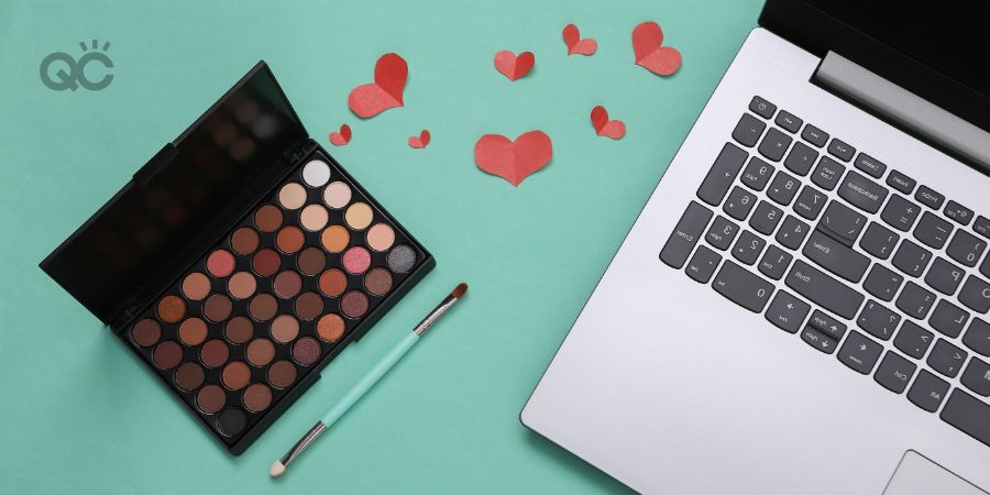 Makeup artist training in-post image, laptop and eyeshadow palette, green background