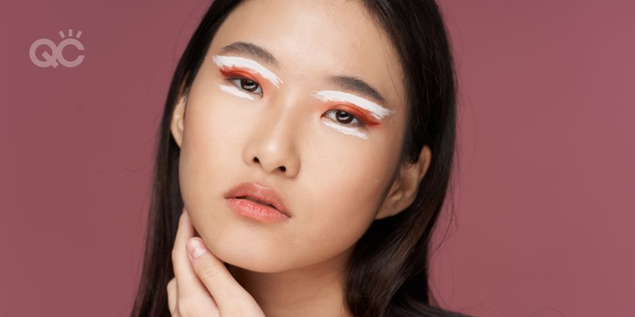 Asian model with bold eye makeup