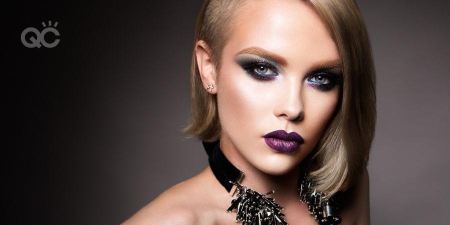 Blonde model makeup fashion photoshoot