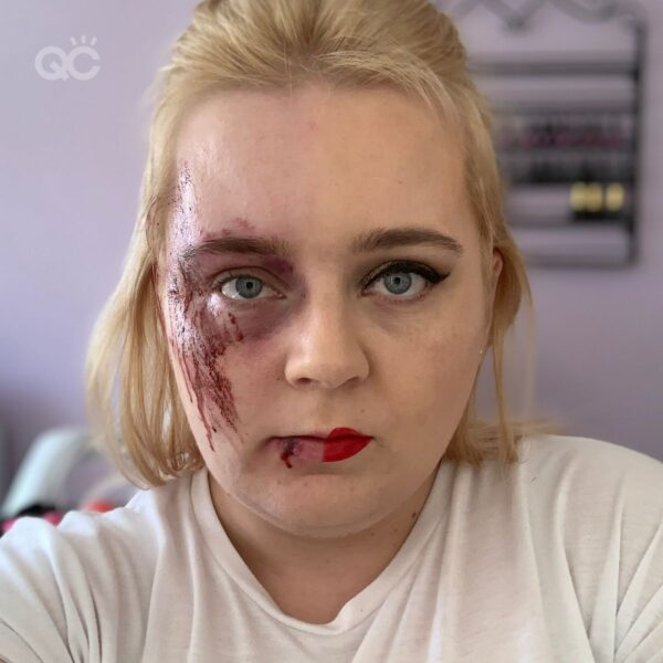 Learn how to do makeup with Gemma, half glam, half SFX